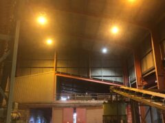 Inside warehouse with lighting