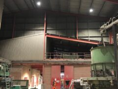 Inside warehouse with new LED lighting