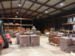Inside warehouse with old lighting