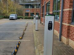 Electric vehicle charger in car park