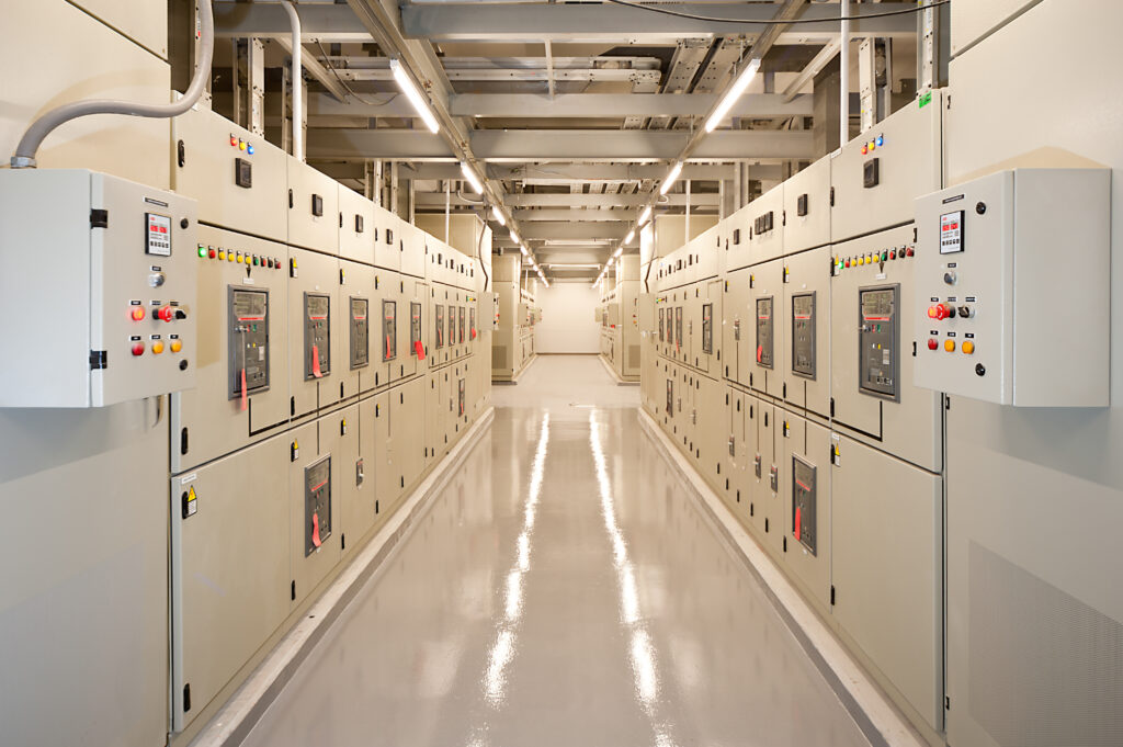 Switchgear in the electrical room.