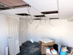 Cables hanging from ceiling ready for lighting install