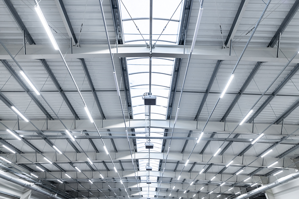 LED lighting in industrial warehouse