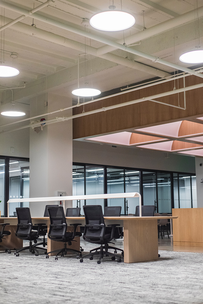 LED lighting in an empty office